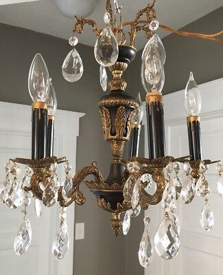 Vtg Antique Gold Brass & Black 5 Arm French Empire Chandelier - Made In Spain