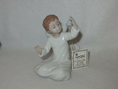 """Nadal """"happy And Calm Angel With Bell"""" Valencia Porcelain Figurine #2765 - Mint"""
