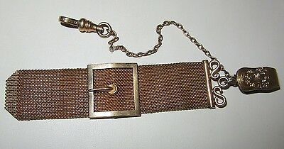 Antique Victorian Edwardian J.f.s.s. Watch Fob Gold Fill Plate Mesh Buckle