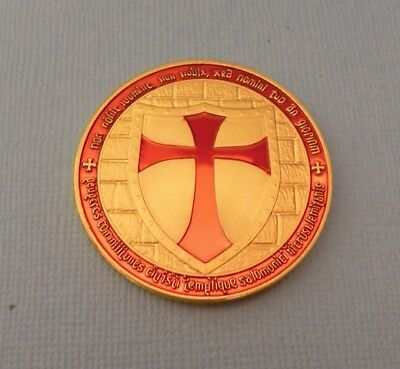 Pièce plaquée Or (  Gold plated Coin) Chevaliers des Templiers Knights Templar