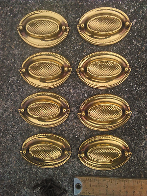 8 Vintage Hepplewhite Style Drawer Pulls Brass Color Furniture Cabinets Unused