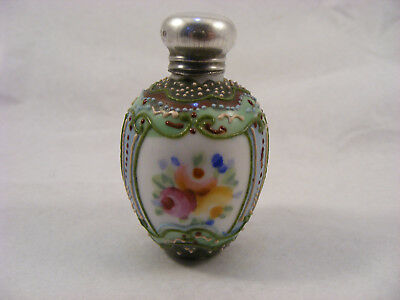 porcelain scent bottle with Silver top B'Ham 1908 Robert Pringle & Sons