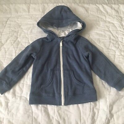VINCE Toddler Boy Blue White Zipper Full Zip Hoodie Size 18 Months