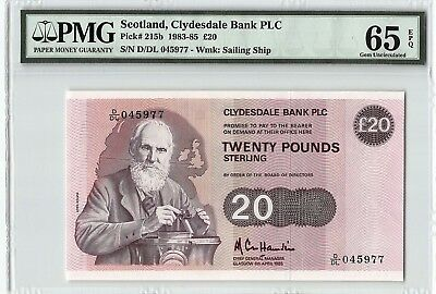 Scotland, Clydesdale Bank PLC 1985 P-215b PMG Gem UNC 65 EPQ 20 Pounds
