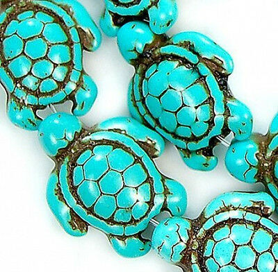 13*17MM New Blue Howlite Turquoise Loose Beads 16'' Strand Carved Turtle Spacer