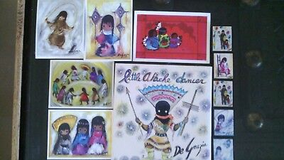 Ted Degrazia Little Apache Dancer Recording Magnets Postcards Southwest Native