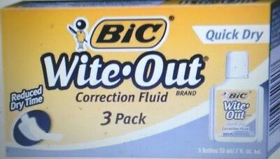 BIC Wite-Out Quick Dry Correction Fluid, 20 ml Bottle, Pack of 3