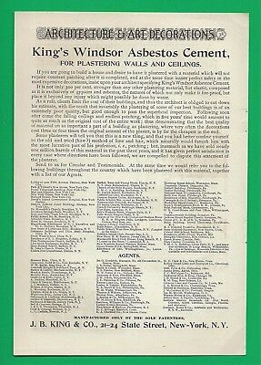 1892 Ad ~ King's Windsor Asbestos Cement ~ For Plastering Walls & Ceilings