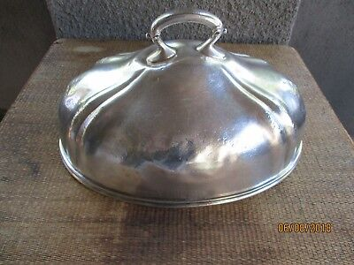 Antique hotel silver soldered meat dome cover, The ONONDAGA