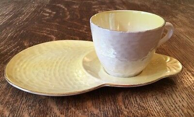Vintage Maling Tennis Cup and Snack Plate - Yellow & Pearl Lustre Ware- 1920's