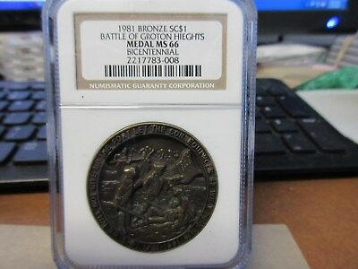 1981 Battle of Groton Heights Bicentennial Dollar NGC MS 66 Bronze 39mm