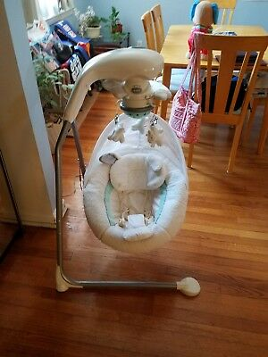 Fisher-Price Snugabunny Cradle with Smart Swing Technology for Baby