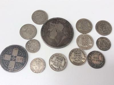 1821 George IV Silver Crown & Job Lot of Pre 1947 Silver & Half Silver Coins