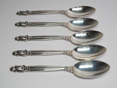 Georg Jensen 5 Suppenlöffel Löffel Design KONGE 830 Silber Spoon
