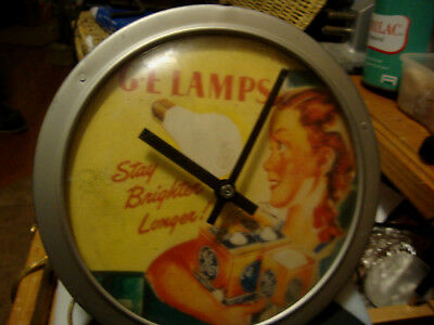 """Electric GE Lamps Wall Clock Measures Approx. 9"""" Dia"""