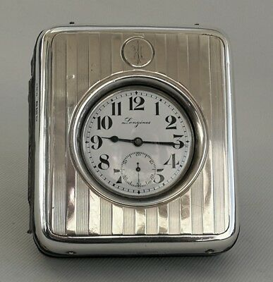 Vtg 1913 Mappin Webb Solid Silver Easel Desk Travel Longines Pocket Watch Clock