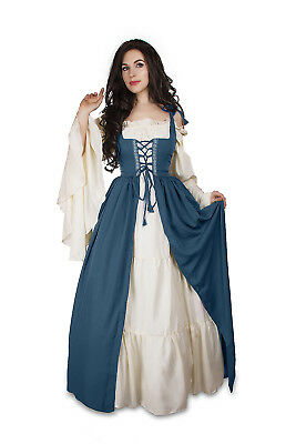 Renaissance Medieval Irish Costume Teal Over Dress ONLY Fitted Bodice L/XL