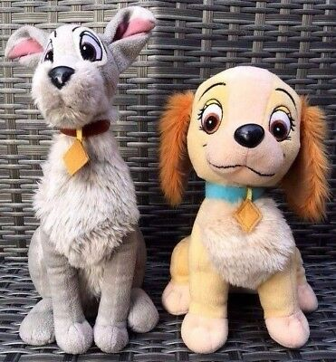"2 x Disney LADY AND THE TRAMP Soft Plush Toys - 14"" TRAMP & 12"" LADY - FREE P&P"