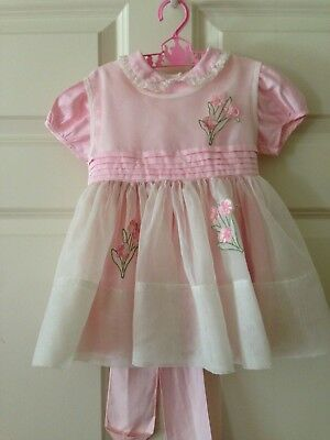 Vintage Baby Toddler Dress & sheer Pinafore with applique/ 24 months