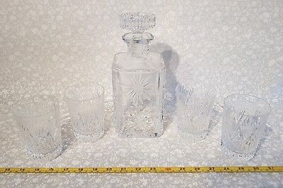 BEAUTIFUL vintage crystal decanter & four Royal Brierley York pattern tumblers