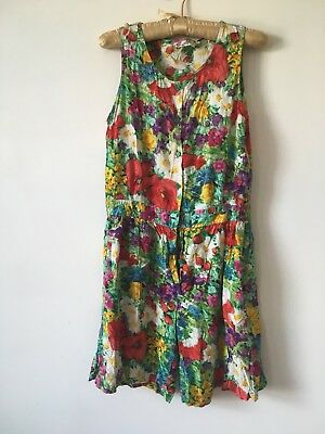 Vintage Floral And Strawberry Print Playsuit Size 10/12