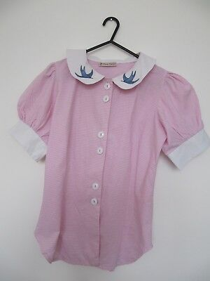 Tara Starlet pink fitted blouse retro 1950s rockabilly size 10.peter pan collar