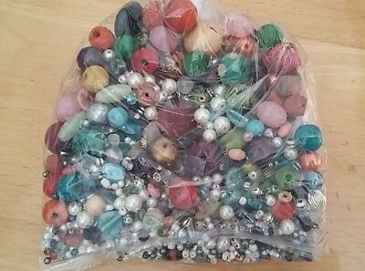 Job lot of mixed beads - 450g - wooden,metal,clay - all shapes and sizes