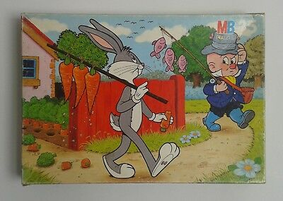 Bugs Bunny Elmer Fudd vintage puzzle cartoon Looney Tunes 35 pieces MB 1985