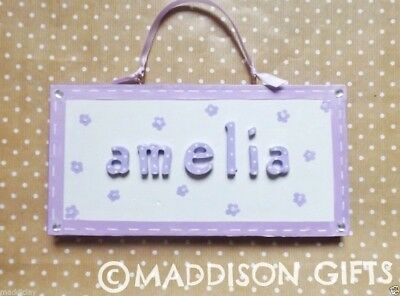 Lilac Flower Bedroom Door Name Plaque Floral Home Decor Personalised Girls Gift