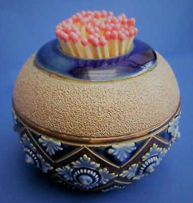 Doulton Lambeth Ware, Stoneware Glaze, Decorated Match Strike Vesta Holder