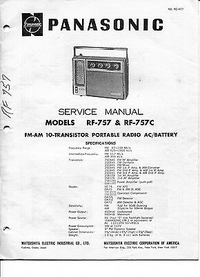 Vintage Panasonic SERVICE MANUAL- Model RF-757 & RF-757C FM/AM Portable Radio