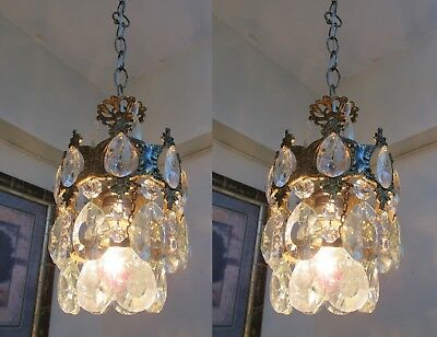 PAIR OF Antique Vintage French Basket Style Crystal Chandelier Lamp 1940's.6 in