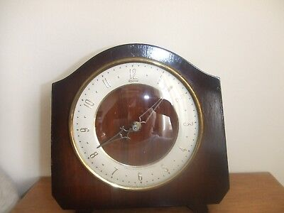 Vintage Rare Art Deco Wooden Andrew Swiss Musical movement Mantle Clock Wind Up