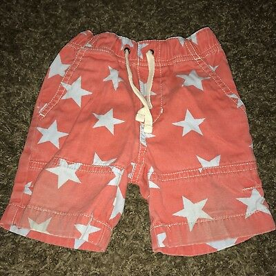 BABY BODEN Infant Boys Red With Blue Stars Shorts Size 6-12 Months