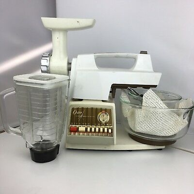 Vintage Oster Kitchen Center 12 Speed w/ 2 Glass Mixing Bowls, Blender, Grinder