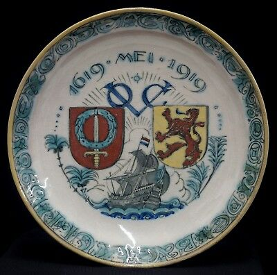 a perfect antique porceleyne fles new delft plate 300 years voc 1919