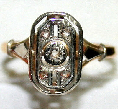 ANTIQUE Art Deco FRENCH BI COLOR 18K GOLD DIAMOND HAND MADE BEAUTIFUL RING c1919
