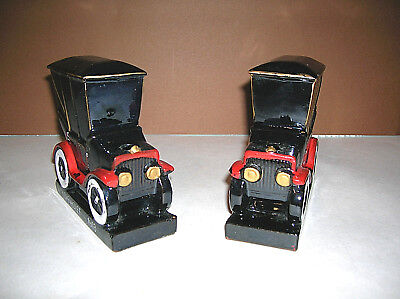 Vintage Japanese 1913 Chevrolet PAIR Red Clay Car Painted Bookends Pen Holders