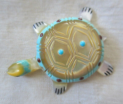 Tiny Masterpiece, Vintage Turtle Fetish; Mop, Shell, Turquoise, Coral /jasper;