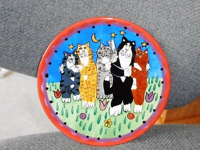 Cat Plate Catzilla Candace Reiter 2001 5 Hugging Kitty Cats Ceramic