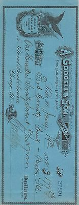 1892 A. Goodell & Sons Check Ford Bank $177 National Bank of America Chicago