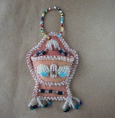 "Antique Native American Mohawk Iroquois Raised Beadwork Wall Pocket 5""x 3"""