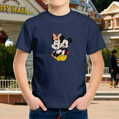 Mickey Minnie Mouse Couple Love Kids Boys Youth Tee T-Shirt Tops Children Blouse