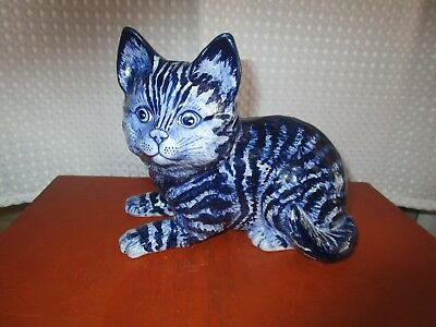 Vintage Cobalt Blue Delfts Pottery Cat