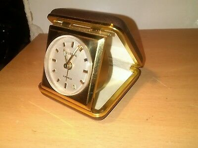 EUROPA 2 Jewels Vintage Travel Alarm Clock Germany working brown & gold