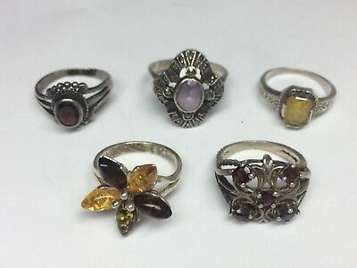 Vintage Sterling Silver Ring Lot 925 With Stones Not Scrap 16g