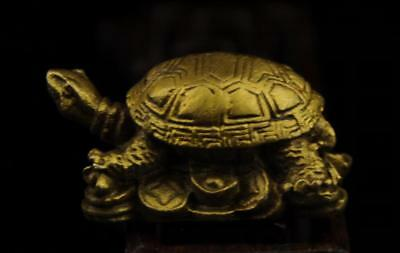 China old antique hand made brass Turtle and Ingot statue a01