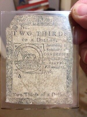 1776 2/3 DOLLAR Continental Currency Colonial Note FEB 17 1776