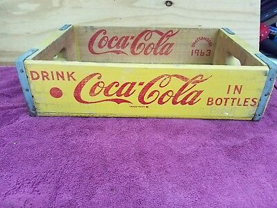 Coca-Cola Yellow Wood Crate/Box  ~ 1963 ~ CHATTANOOGA
