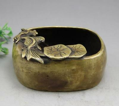 China brass copper carved goldfish writing-brush washer sculpture statue d01